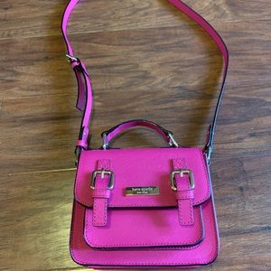 Bright pink small Kate spade purse w/handle/strap